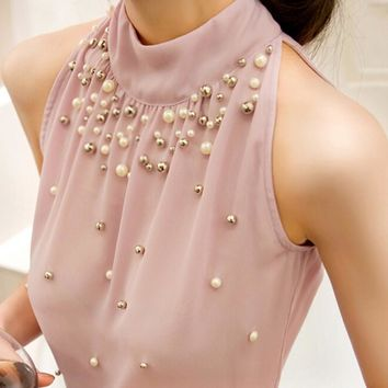2016 New Women Summer Beading Chiffon Shirt Korean Fashion Sleeveless Women Chiffon Blouse Shirt Women Lace Tank Top S M L XL