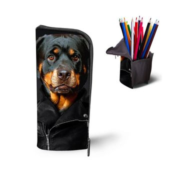 Cool Boys Girls Pencil Case 3D Animal Rottweiler Women Cosmetic Bag Children School Supplies Dog Pen Pouch Box Kids Stationery