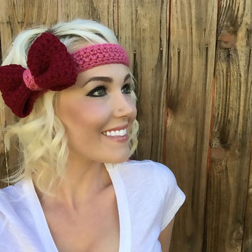 Valentine Pink Crochet Bow Headband w/ Natural Vegan Coconut Shell Buttons Adjustable Hair Band Girl Woman Teen Head Wrap Knit Accessories