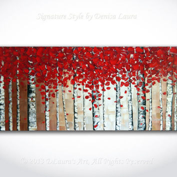 Contemporary ORIGINAL Abstract Modern Birch Tree Autumn Landscape Fine Art Bright Oil Palette Knife Painting on 40x18 Canvas by Denisa Laura