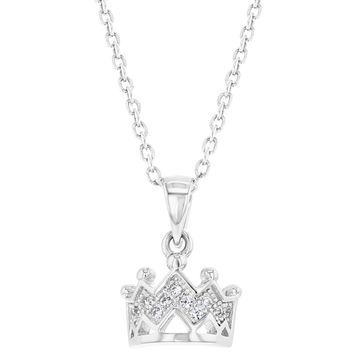"""925 Sterling Silver Princess Crown Necklace Pendant Girls Kids Clear CZ 16"""""""