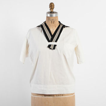 Vintage 20s BLOUSE / 1920s SAILOR Collar White Cotton Nautical Middy Top Shirt S - M