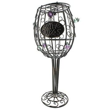 Decorative Wine Glass Wire Cork Display Holder ndash 12rdquo Inch Container 45+ Capacity Cork Collector Countertop Catcher Cage