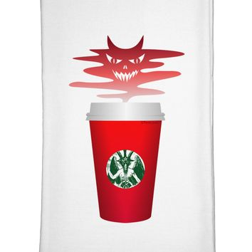 Red Cup Satan Coffee Flour Sack Dish Towels by TooLoud