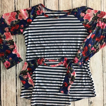 In Stock Mommy and me Navy Rose & Stripes spring raglan