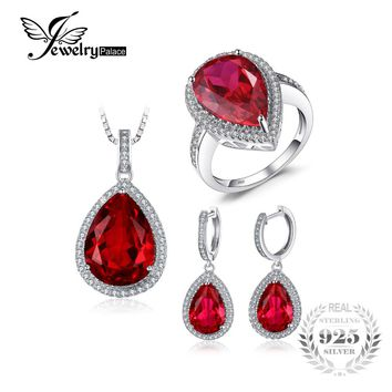 Jwewelypalace Pear Shape Pigeon Blood Created Ruby S925 Sterling Silver Ring Necklace Pendant Earring Women Bridal Jewelry Set