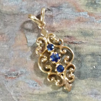 Vintage Blue Sapphire 14k Gold Necklace Pendant Open Filigree Ornate Setting Slide Pendant Three Stones 1 1/6 Inches L. 7/16 Inch W. Nice!