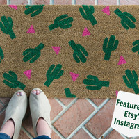 Cactus doormat /Hand painted, Custom welcome mat/ Wedding Gifts / Housewarming Gifts / Funny Doormat / Outdoor Welcome Mat