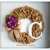 Burlap Wreath Purple Hydrangea Wreath Front Door Wreath Mother's Day Gift Spring Wreath Summer Wreath Rustic Wreath Front Door Wreath