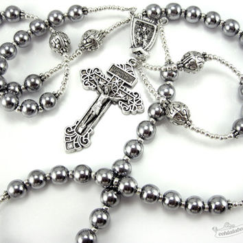 The Pardon Crucifix Rosary, confirmation rosary, catholic gift, silver rosary, confirmation gift, mens rosary necklace, catholic rosaries