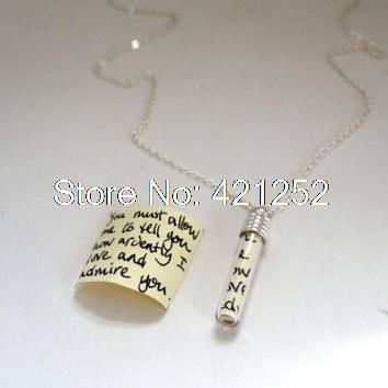 12pcs Secret Message In A Bottle Pendant necklace silver tone you must allow me to tell you how ardently i love and admire you