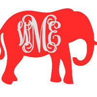 Monogramed Elephant Decal - Vinyl - Interlocking - Vine Font - Laptop - Car - DIY - Elephant - Alabama - Bama - Glitter - Sticker