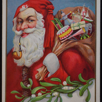 Santa Claus Postcard, Christmas Postcard, Santa 1900s, Antique Postcard, Antique Christmas Card