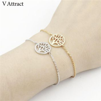 V Attract Cubic Zirconia Bijoux Pulseras 2017 Gold Color CZ Pave Family Tree of Life Charm Bracelets & Bangles Women