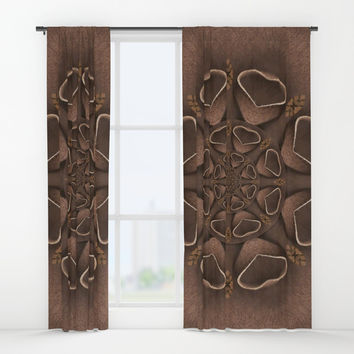 leather fantasy flower in mandala style Window Curtains by Pepita Selles