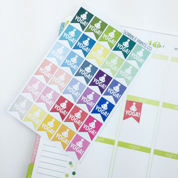 "30 ""Yoga!"" Page Flag Die-Cut Stickers // (Perfect for Erin Condren Life Planners)"