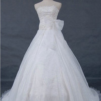 A-line Strapless Chapel Train Satin Organza Wedding Dresses With Bowknot Embroidery Beading Free Shipping