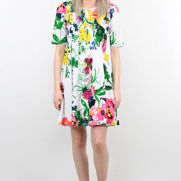 Vibrant Floral Secrets Swing Dress {Cream Mix}