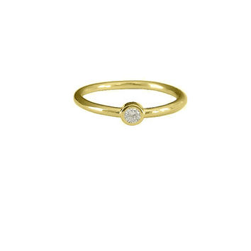 Thin 18K Gold Round Cubic Zirconia Ring, Gift for Her, Tiny CZ Stackable, Promise Ring, Minimalist Jewelry