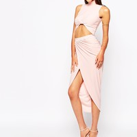 Club L Ruched Pencil Skirt With Wrap Front