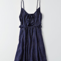 AEO Ruffled Cutout Dress, Navy