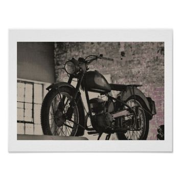 Stylized BSA British Motorcycle Motorbike Poster