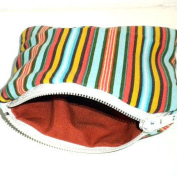 Striped Zipper Pouch colorful stripes change by redmorningstudios