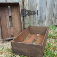two wooden CRaTeS..newborn photo prop....wedding centerpiece...storage... Wreckd on Etsy ... upcycled wood