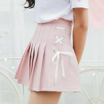 2018 Women'S Korean Harajuku Ulzzang Bow Tie Cute Punk Funny Vintage Pleated Skirt Female Cute Japanese Kawaii Skirts For Women