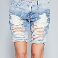 Grunge Destroyed Boyfriend Shorts| Wet Seal