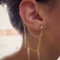 Gold ear cuff with spikes FREE SHIPPING