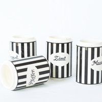 Wächtersbach Spice Jars, Mid Century 1950s Kitchenware, Black and White Kitchen Canisters, Ceramic Spice Canisters, West German Pottery