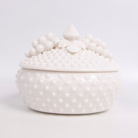 Vintage Fenton Milk Glass Candy Bowl Trinket Holder Hobnail Art Glass Applied Grapes
