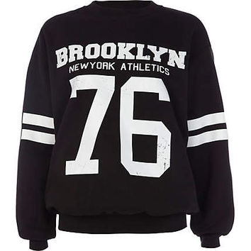 Black Brooklyn athletic 76 print sweatshirt - sweaters / hoodies - t shirts / tanks / sweats - women