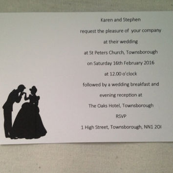 Personalised Disney Prince and Princess Wedding Invitations
