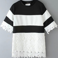 Block Lace Panel T-Shirt in Black and White