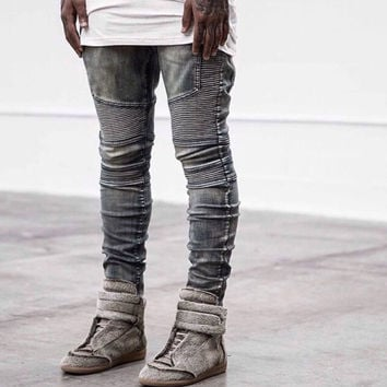 Men's Kanye West Biker Hip Hop Swag Washed Skinny Motorcycle Denim Elastic Retro Joggers Jeans