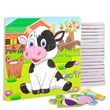 Toddler Teaching Education Toy Cartoon Animal/Vehicle Pattern Wooden Jigsaw Puzzle for Children/Kids by SnoweeGao