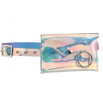 We Vibing Square Bumbag Pocket With Ring Detail Belt In Holographic