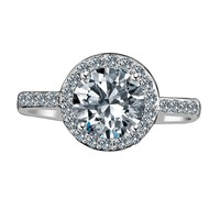 2 ct Centered Round Radiant in Halo Setting Embellished by Simulated Diamond Veneer® Stones Simulated Diamond Engagement Sterling Silver Ring, Simulated Diamond Wedding Ring Set 635R200