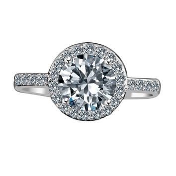 2ct centered round radiant in halo setting embellished by simulated diamond veneer® stones set 635r200
