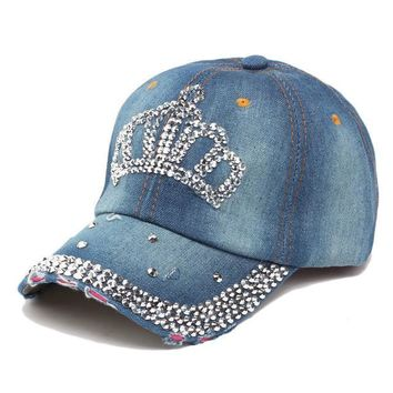Adjustable Women Lady Rhinestone Crystal Baseball Caps Bling