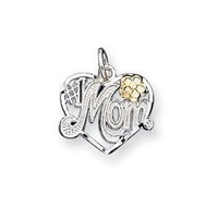 Sterling Silver Number 1 Mom Heart Charm - JewelryWeb