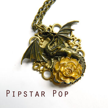 World Dragon necklace - Victorian Bronze Winged dragon pendant with gold rose - Neo Classical Steampunk Jewelry