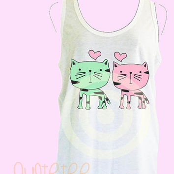 Cat tank top S M L XL - women tops - Family tank - White sleeveless tops - Family shirt - Cat family - Kitten Cat lover