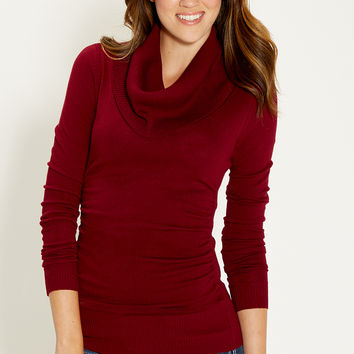 the pullover with cowl neck in deep cranberry