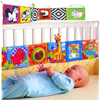 Colorful Infant Baby Rattles Mirror Animal Bed Cognize Multifunction Cloth Touch Book For Kids Baby visual Early Education Toys