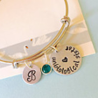 Unbiological Sister,  Best Friend Bracelet, Silver, Hand Stamped Bracelet, Personalized Bracelet, Silver Bangle
