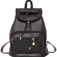 Retro Black Leather Backpack