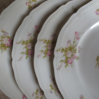 Set of 4 Floral China Dinner Plates - Wedding, Bridal Shower, Plate Set